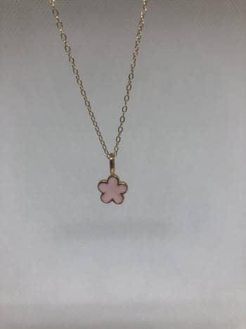 Collar y aretes de flor rosa