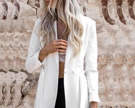 Saco Blanco H&M con cinta a la cintura NUEVO