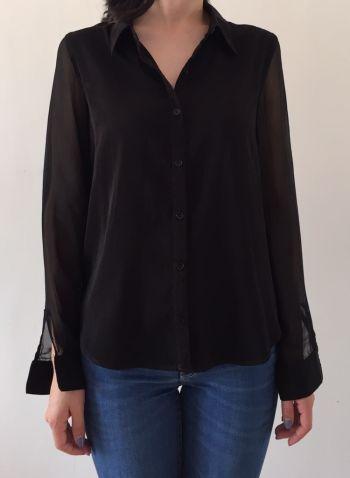 Camisa de botones negra y mangas trasparentes