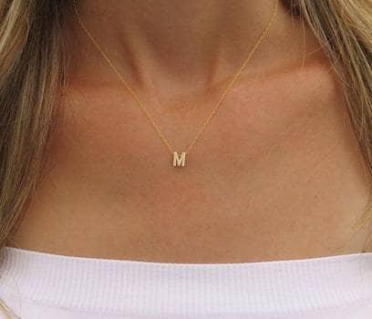 #13 Pack collar letra con pulsera chapa de oro