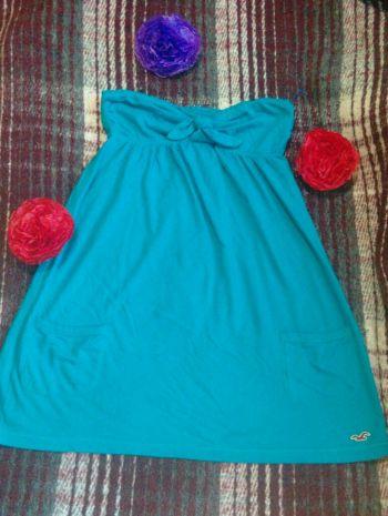 Blusa strapless, Azul turquesa, Talla S (Chica)