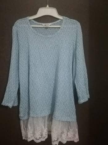 4×1 Blusón tejido con encaje