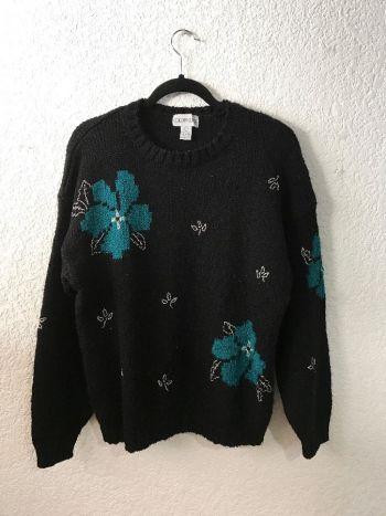 Suéter vintage con flores tropicales