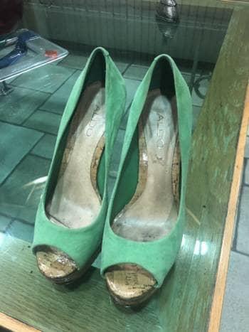 Zapato casual abierto verde