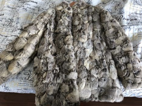 Abrigo piel autentica de conejo