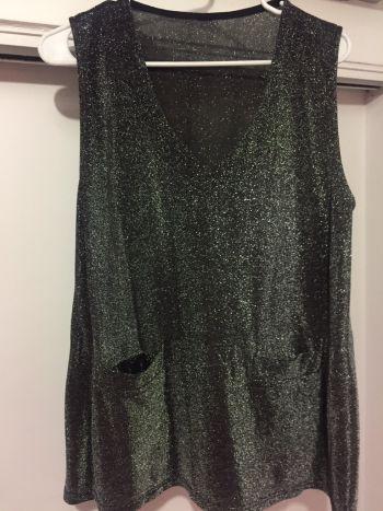 Blusa glitter plata