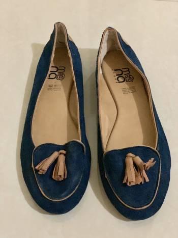 Zapatito mona azul con beige