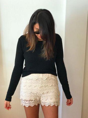 Shorts de tela tipo crochet